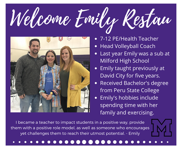 Bio of new teacher Emily Restau