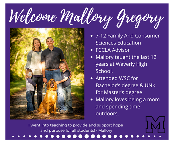 New teacher bio of Mallory Gregory