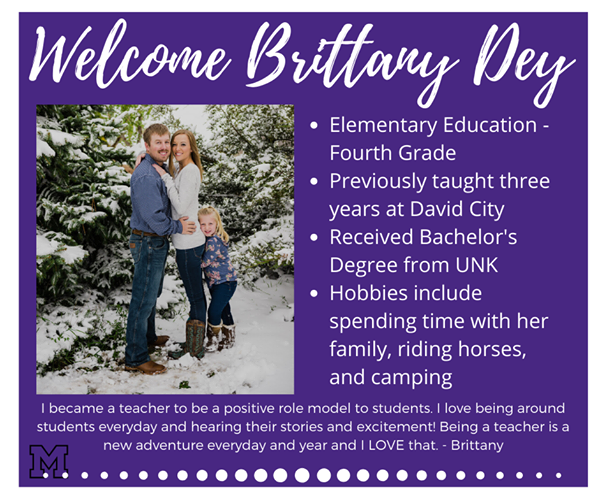 New teacher bio of Brittany Dey