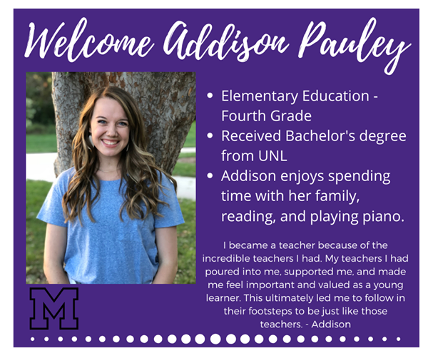 New teacher bio of Addison Pauley
